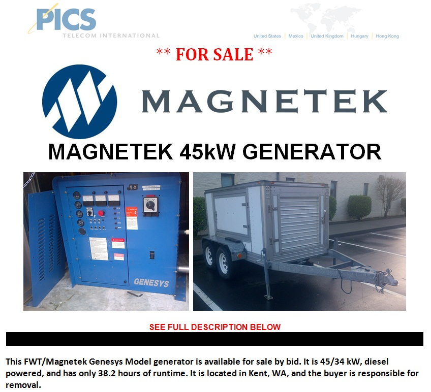 Magnetek Genesys 45kW Generator For Sale Top (1-4-13)