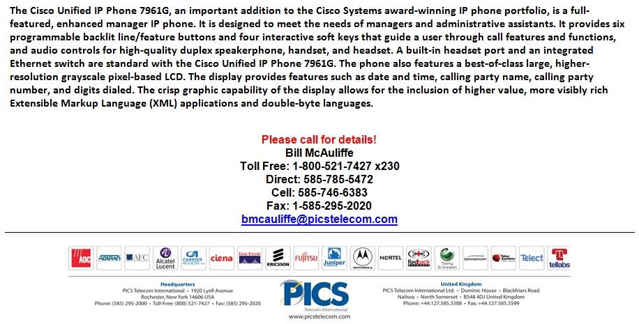 Cisco 7961G IP Phone For Sale Bottom (4.9.13)