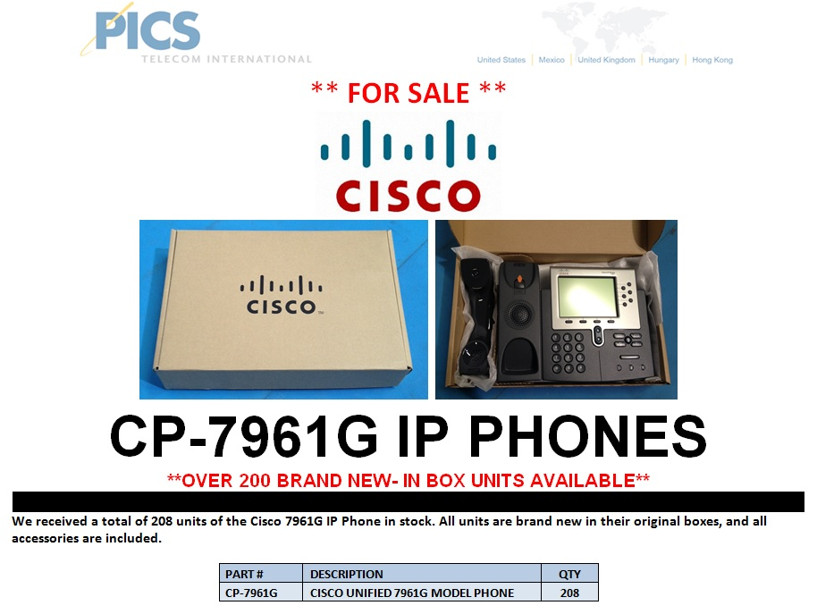 Cisco 7961G IP Phone For Sale Top (4.9.13)