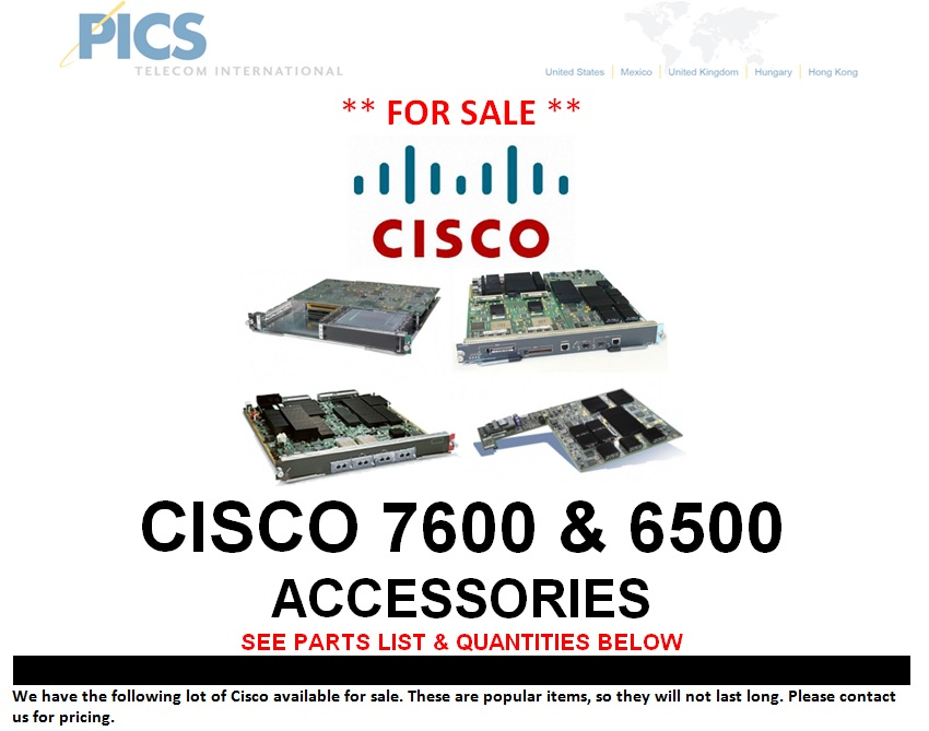 Cisco 7600 & 6500 Accessories For Sale Top (7.16.13)