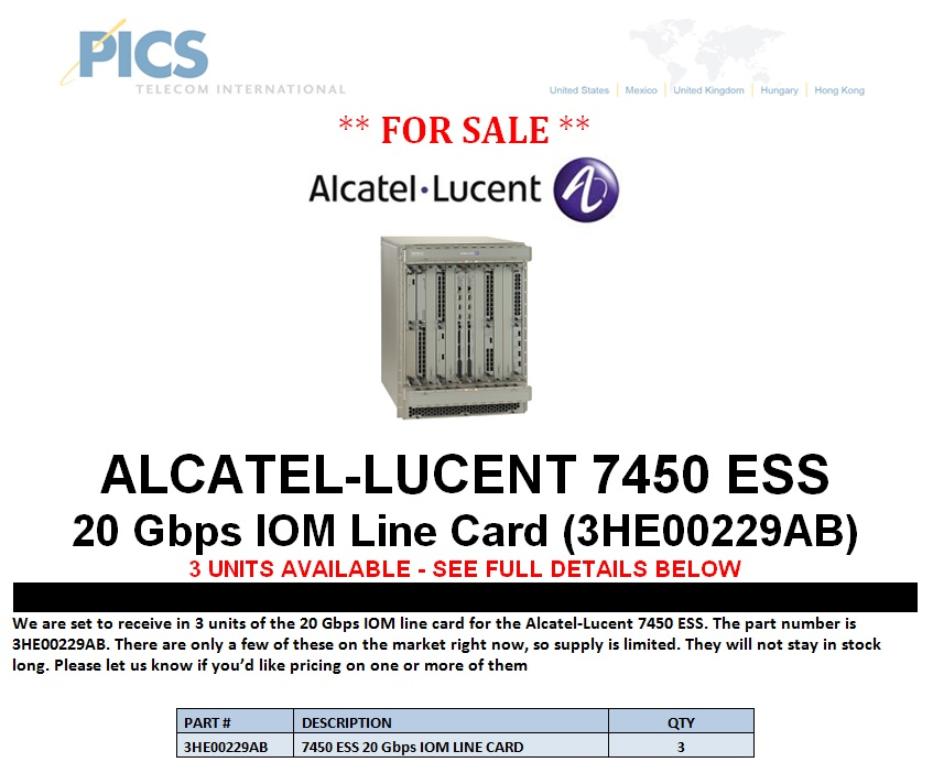 Alcatel-Lucent 7450 ESS 3HE00229AB For Sale (8.14.13)