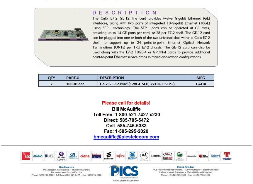 Calix E7-2 GE-12 Line Card For Sale Bottom (9.26.13)