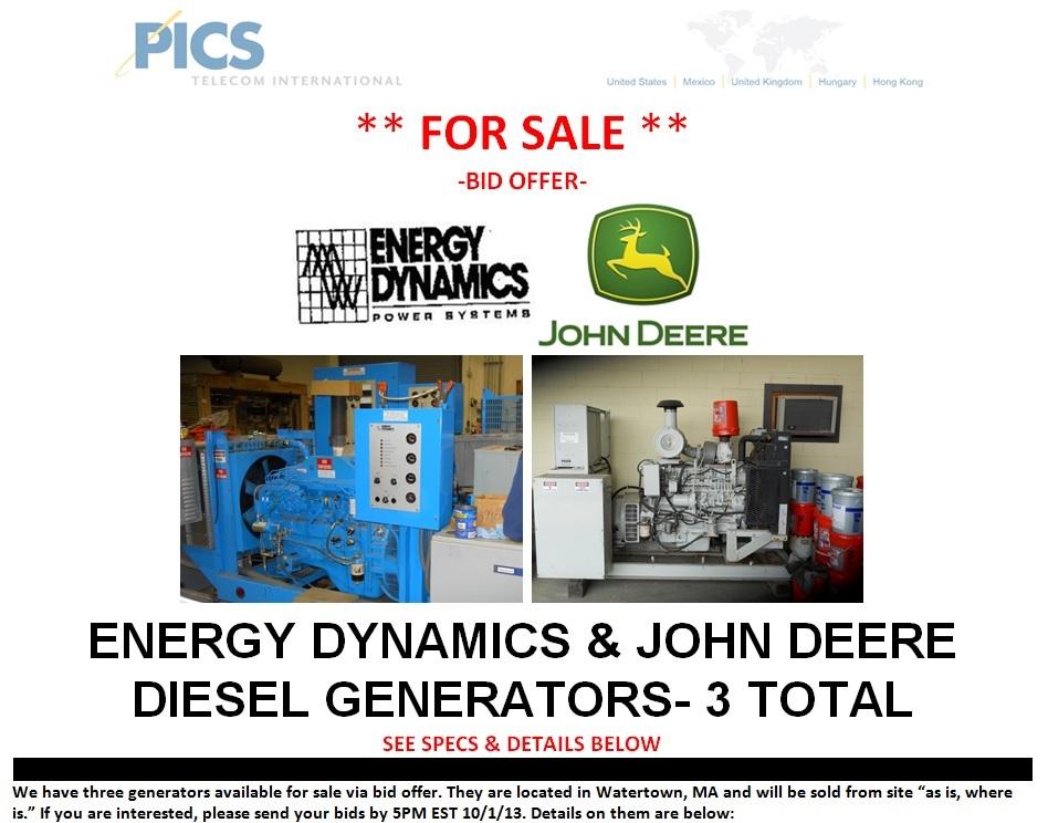 Energy Dynamics & John Deere Generators For Sale Top (9.19.13)