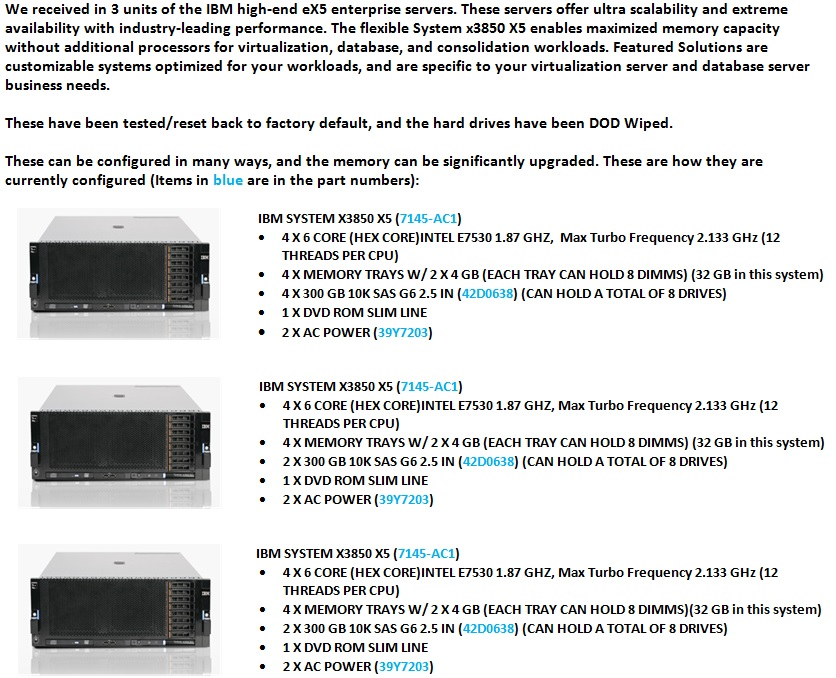 IBM x3850 X5 Servers For Sale Bottom (9.12.13)