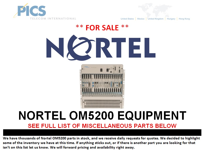Nortel OM5200 Equipment For Sale Top (9.27.13)