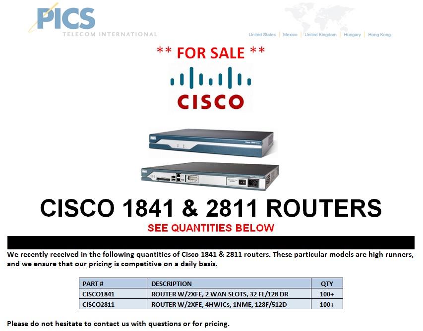 Cisco 1841 & 2811 Routers For Sale Entire (10.30.13)