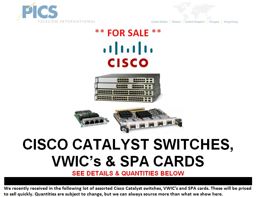 Cisco Catalyst Switches, VWICs & SPA Cards For Sale Top (10.7.13)