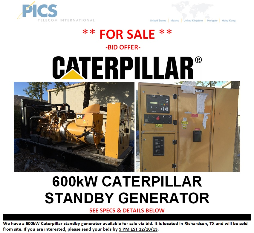 Caterpillar Standby Generator 600kW For Sale Top (11.26.13)