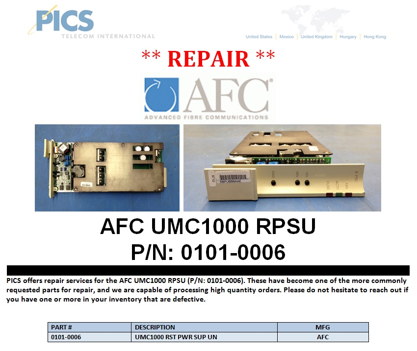 AFC UMC1000 RPSU Repair For Sale Top (1.7.14)