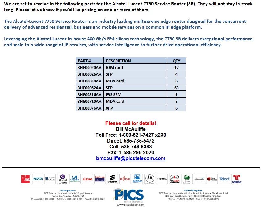 Alcatel-Lucent 7750 SR Equipment For Sale Bottom (2.6.14)