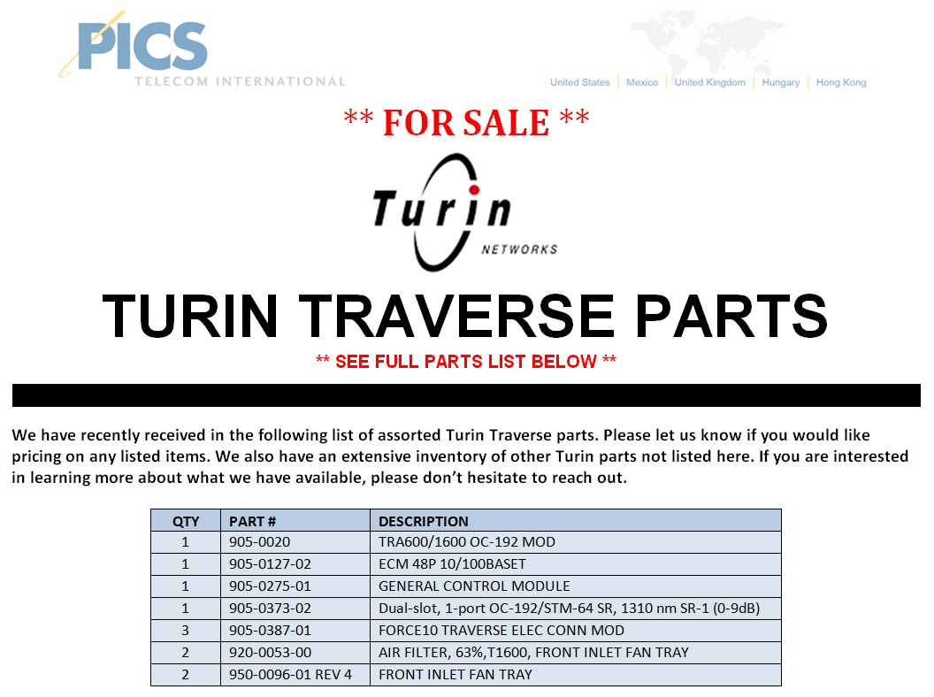 Turin Traverse Parts For Sale Top (6.25.14)