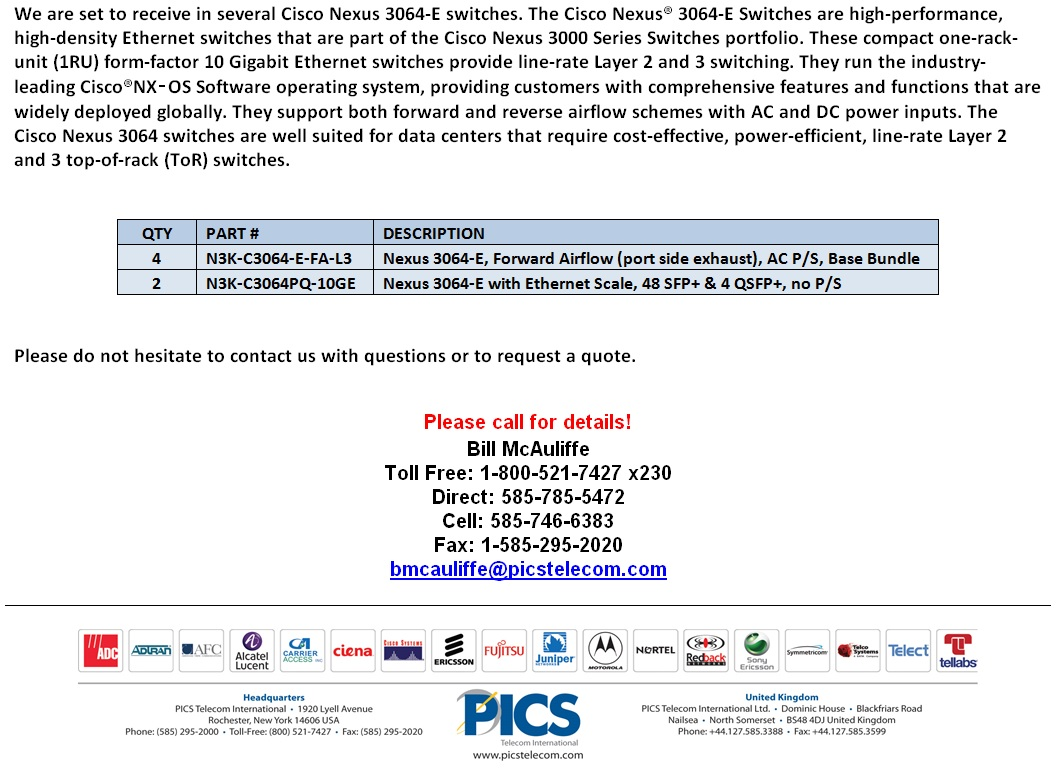Cisco Nexus 3064-E Switches For Sale Bottom (7.7.14)