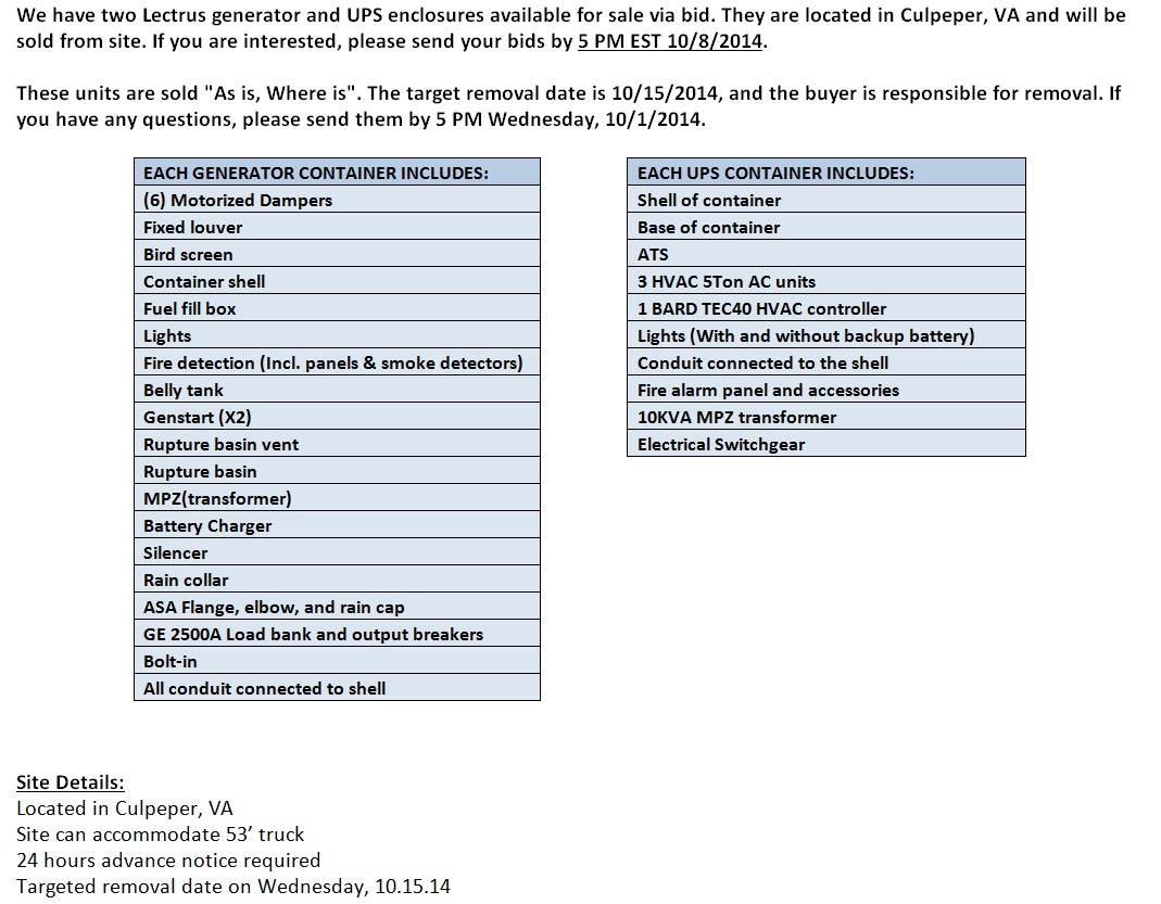 Lectrus Generator & UPS Containers Bid Offer Bottom(9.30.14)