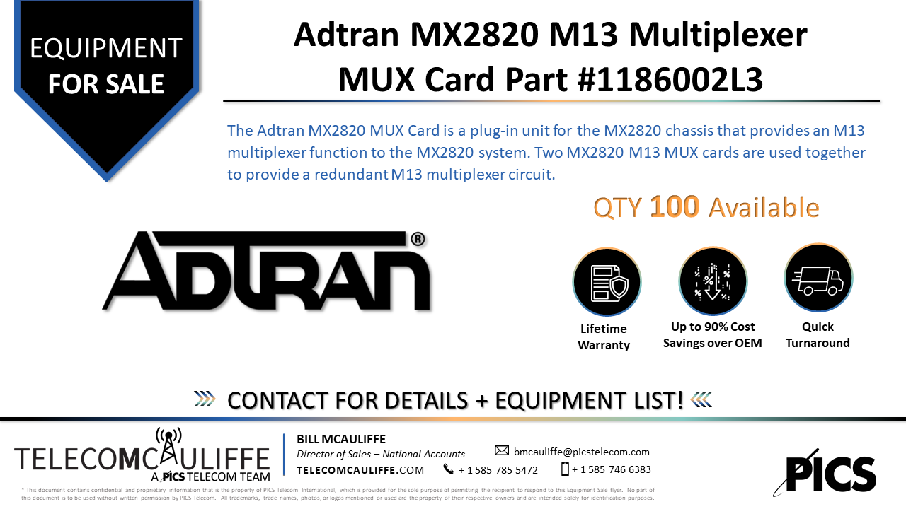 TELECOMCAULIFFE_PICS TELECOM_For Sale_Adtran MX2820 M13 Multiplexer MUX Card 1186002L3_June 2021